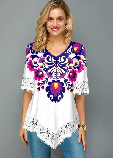 Lace Stitching Flower Print V Neck T Shirt - L
