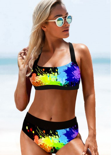 Wide Strap Rainbow Color High Waist Bikini Set - L