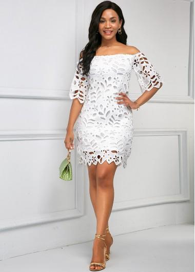 Off the Shoulder Pierced Half Sleeve Dress - L