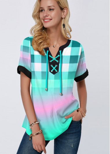 Striped Print Short Sleeve Green Blouse - L