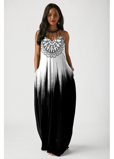 Tribal Print Sleeveless Pierced Maxi Dress - L