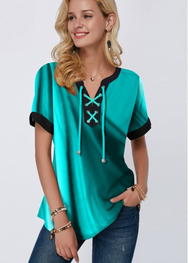 Green Lace Up Short Sleeve Tie Neck Blouse - S