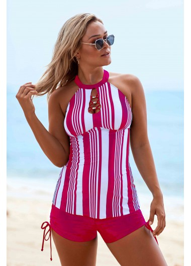 Cutout Neck Stripe Print Drawstring Side Tankini Set - 10