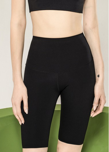 High Waist Skinny Black Knee Length Pants - L