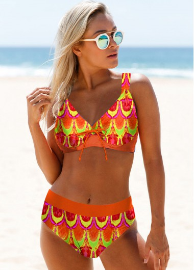 Tribal Print Spaghetti Strap Bikini Set - 10