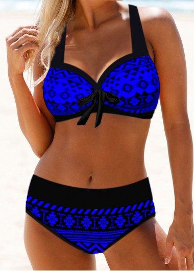 Tribal Print Bowknot Halter Neck Bikini Set - L
