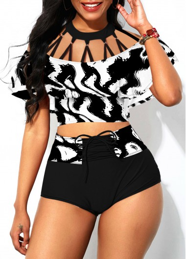 Strappy Neck Lace Up Foldover Front Bikini Set - L