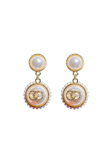 Pearl Embellished White Earring Set - One Size