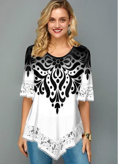 Asymmetric Hem Lace Trim Printed T Shirt - L