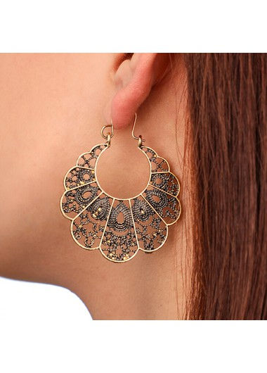 Pierced Curved Gold Metal Earring Set - One Size
