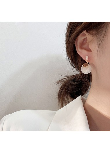 Bead Embellished White Metal Earring Set - One Size