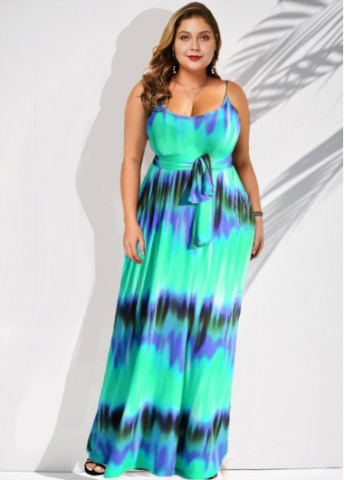 Spaghetti Strap Stripe Print Plus Size Belted Dress - 2X