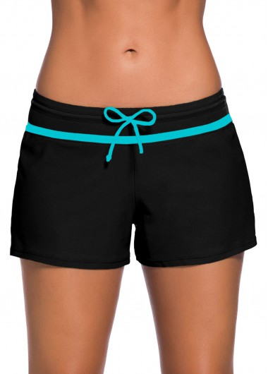 Contrast Piping Bowknot Detail Swimwear Shorts - L