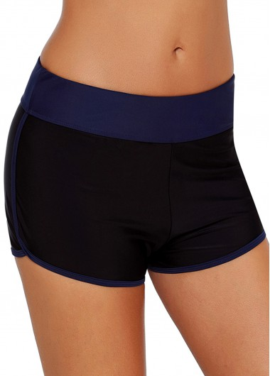 Contrast Piping Mid Waist Swimwear Shorts - L