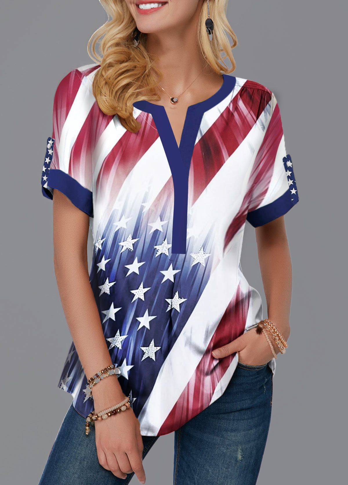 Split Neck American Flag Print Contrast Piping Blouse