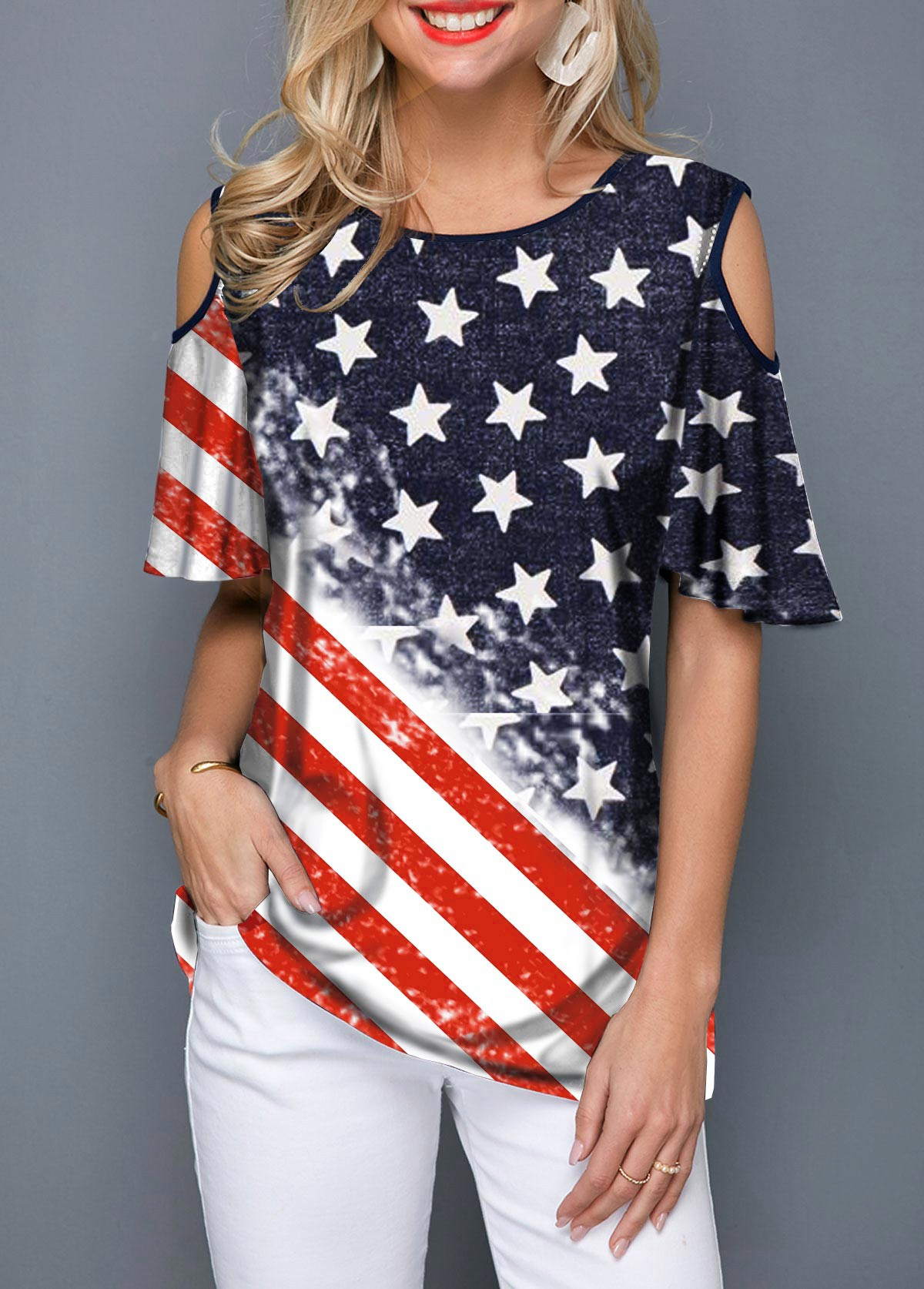 Cold Shoulder American Flag Print Round Neck T Shirt
