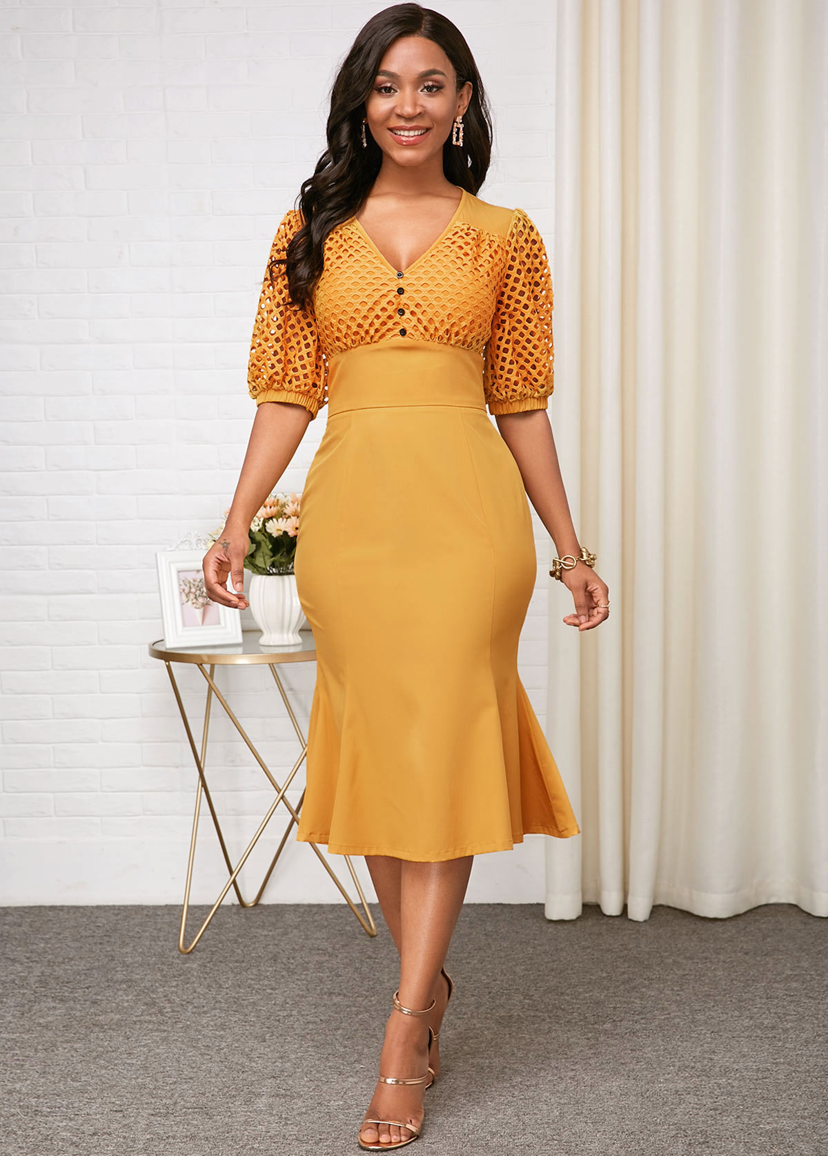 V Neck Half Sleeve Yellow High Waist Dress