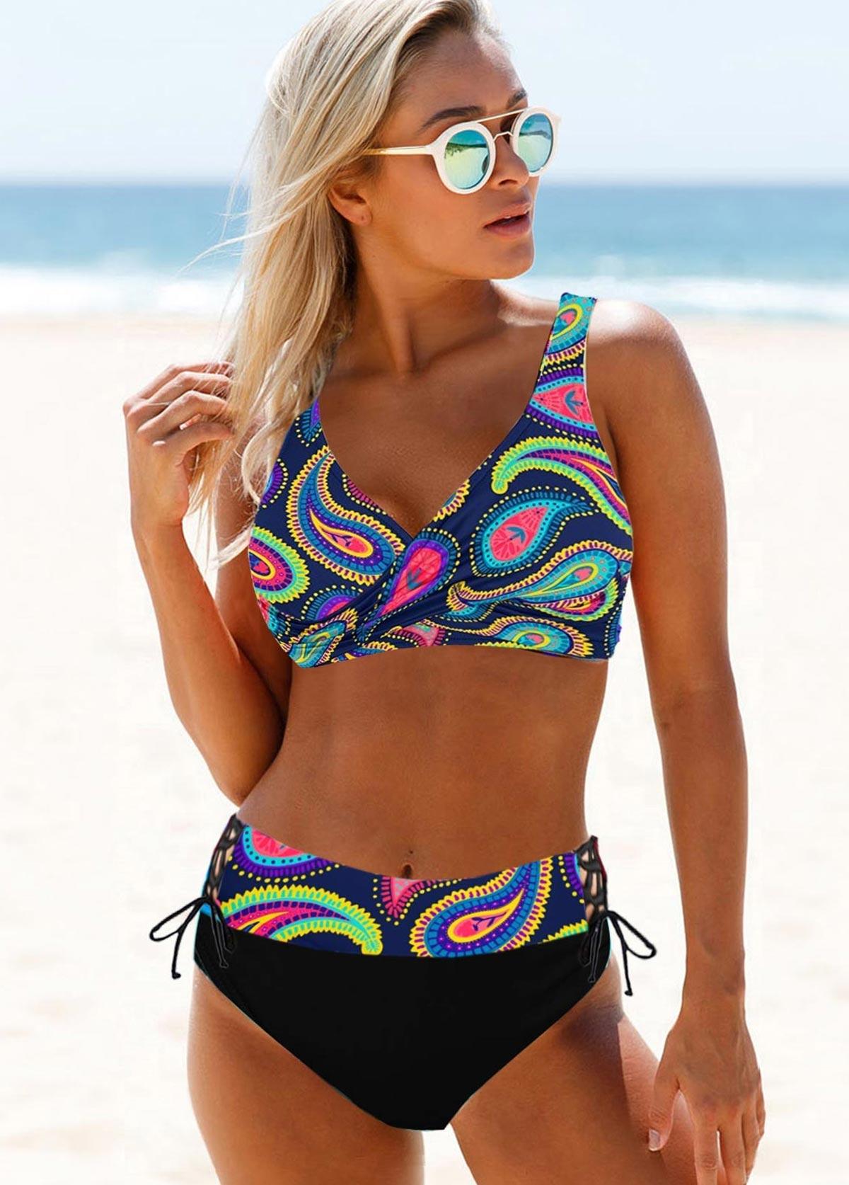 Wide Strap Printed Multi Color Bikini Set
