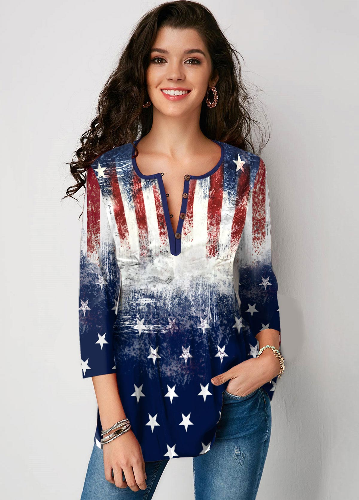 Button Up Three Quarter Sleeve American Flag Print Blouse