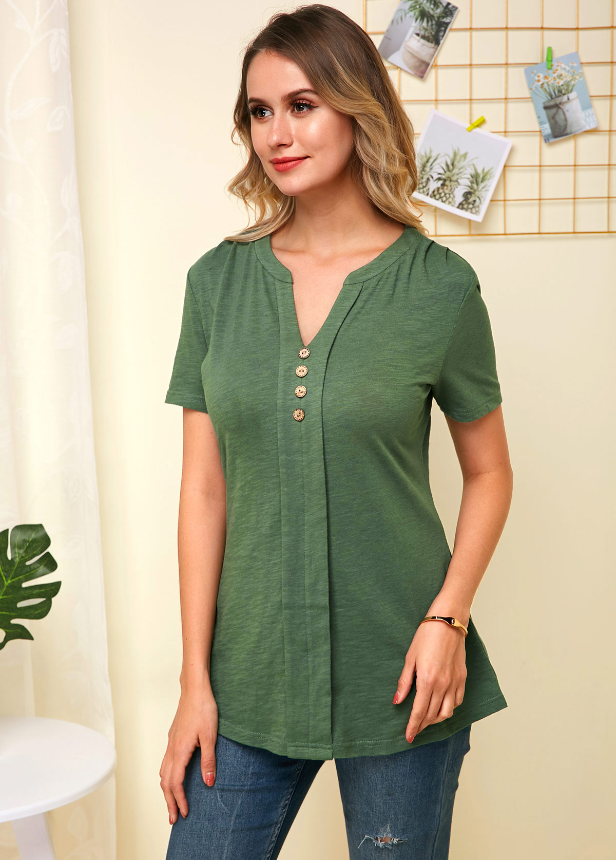 Button Decorated Split Neck Short Sleeve Soft Blouse