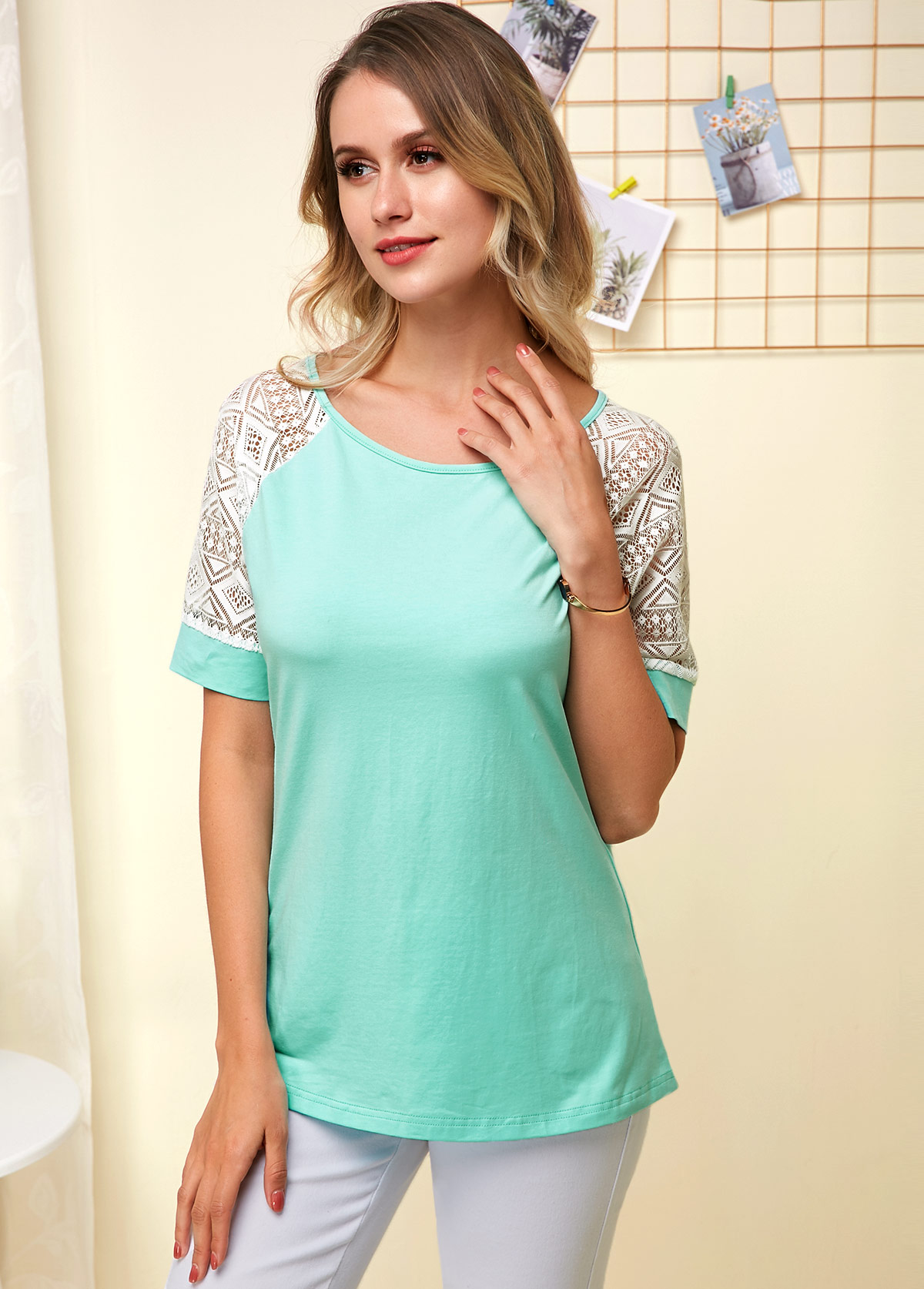 Lace Panel Short Sleeve Cyan Soft T Shirt