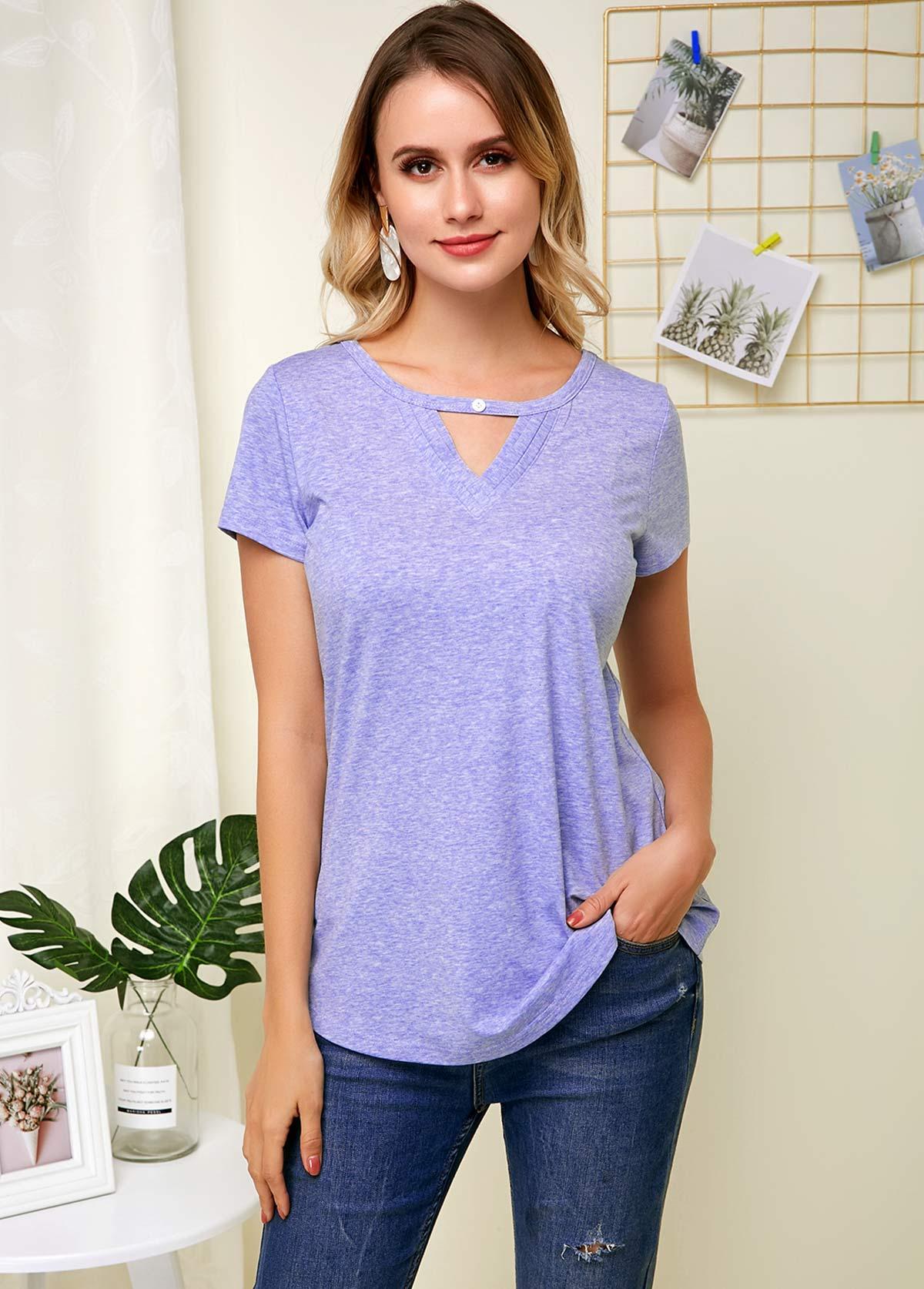 Hollow Neck Short Sleeve Purplish Blue Soft T Shirt