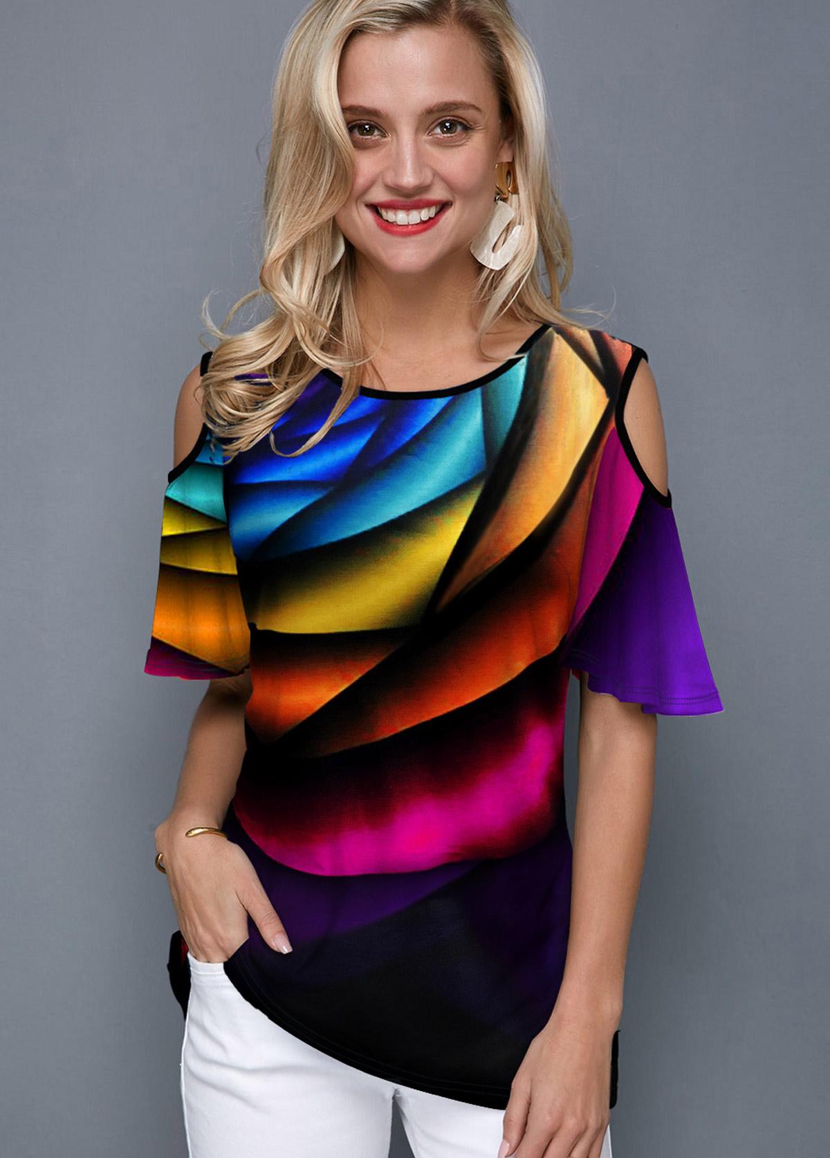 Rainbow Print Half Sleeve Round Neck T Shirt