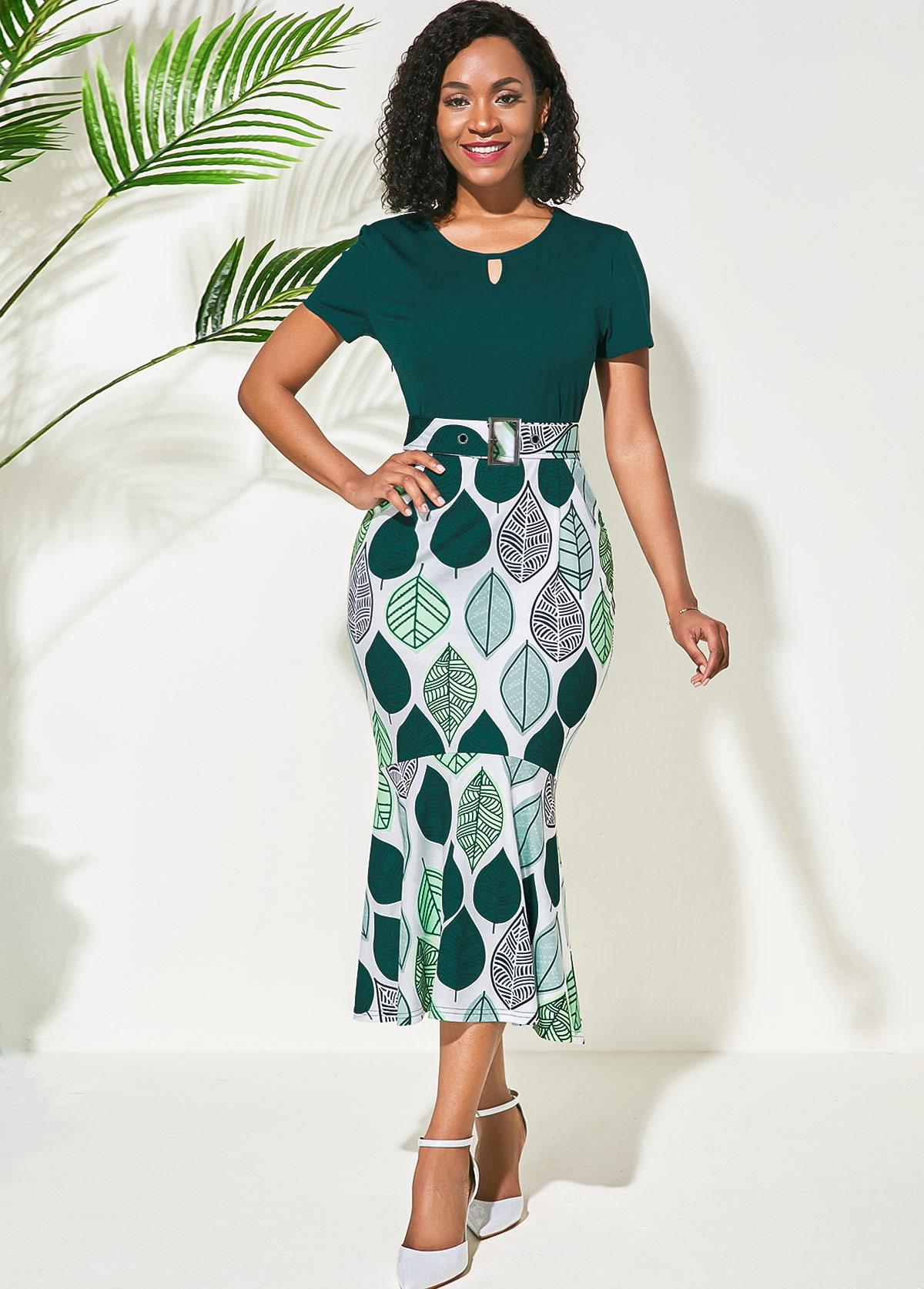 Round Neck Green Flower Print Dress
