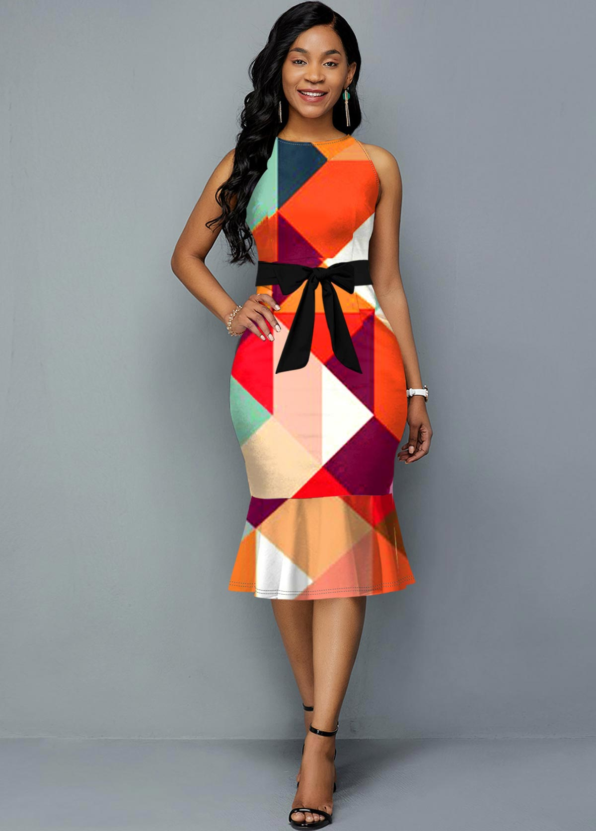 Geometric Print Belted Sleeveless Dress