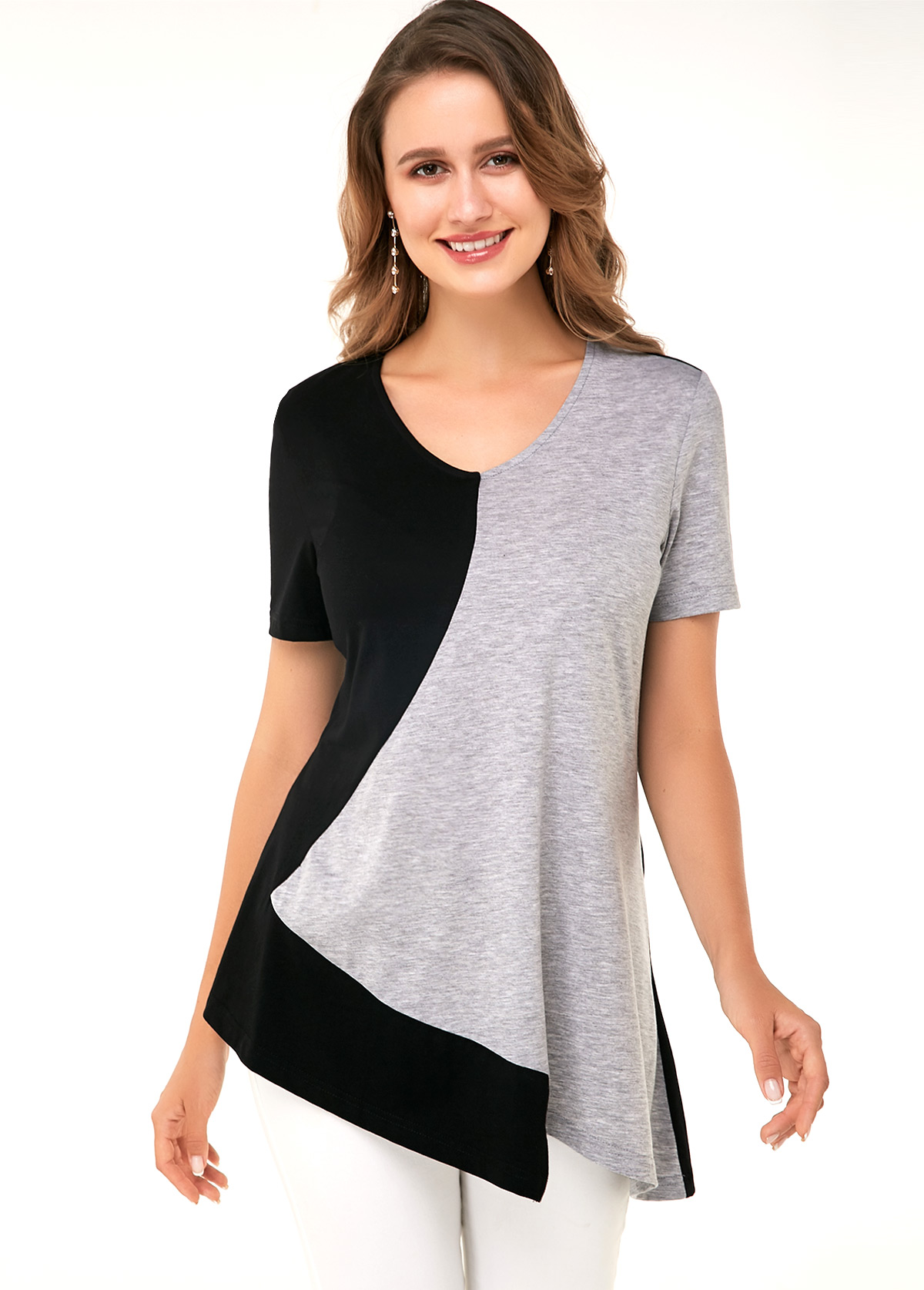 Black Asymmetric Hem Short Sleeve Soft T Shirt