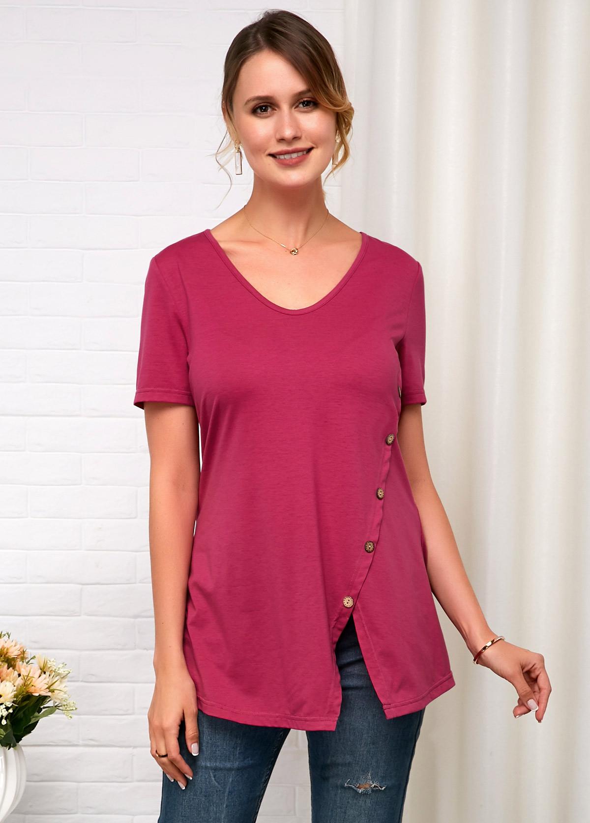 Short Sleeve Button Detail Rose Red Soft T Shirt