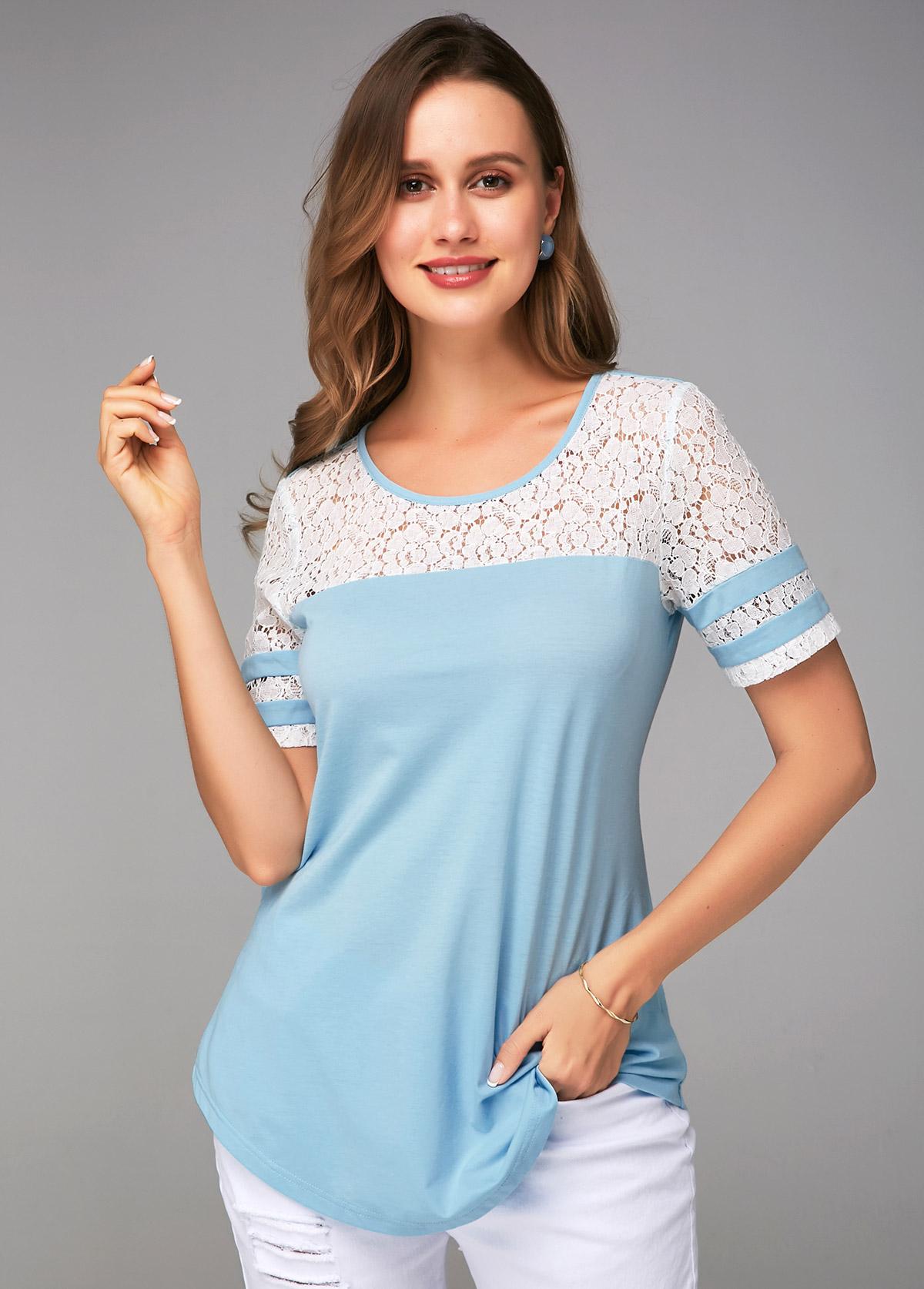 Blue Lace Stitching Round Neck Soft T Shirt