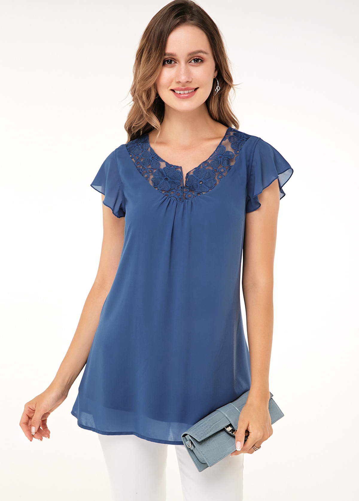 Lace Panel Short Sleeve Dusty Blue Soft Blouse