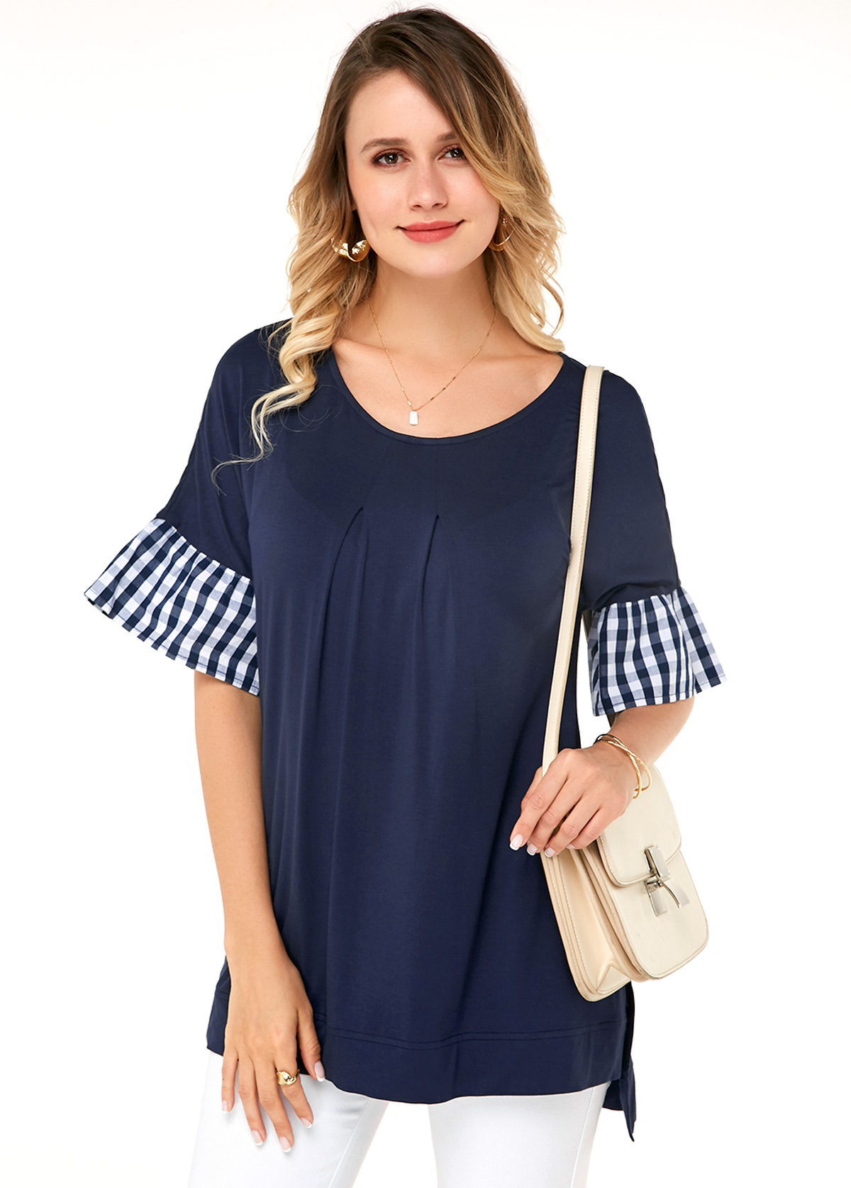 Flare Sleeve Navy Blue Round Neck Soft T Shirt