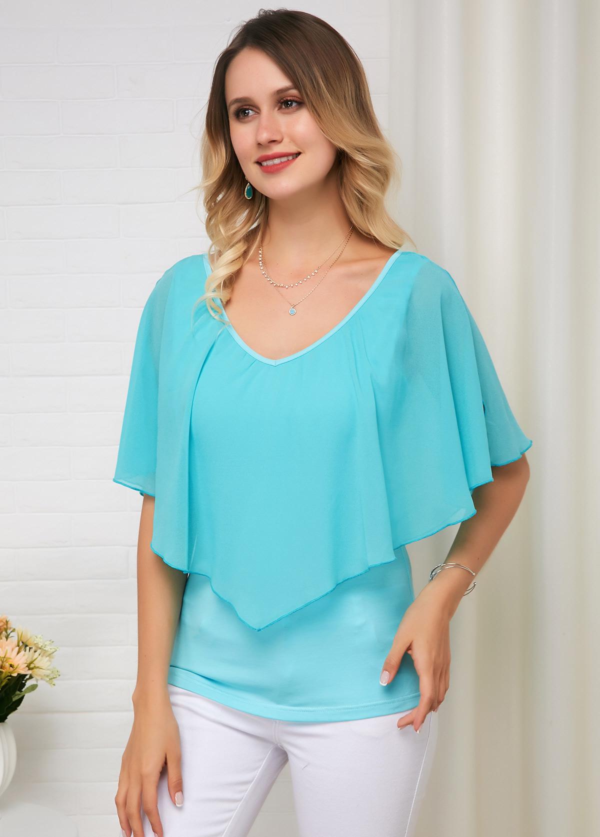 Flounce Panel Mint Green Short Sleeve Cotton Soft T Shirt