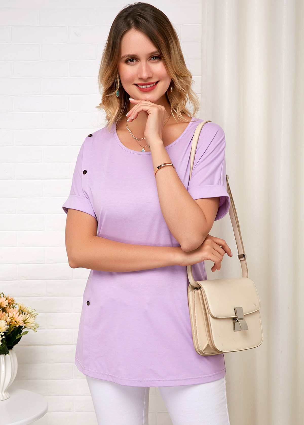 Short Sleeve Round Neck Light Purple Comfort T Shirt