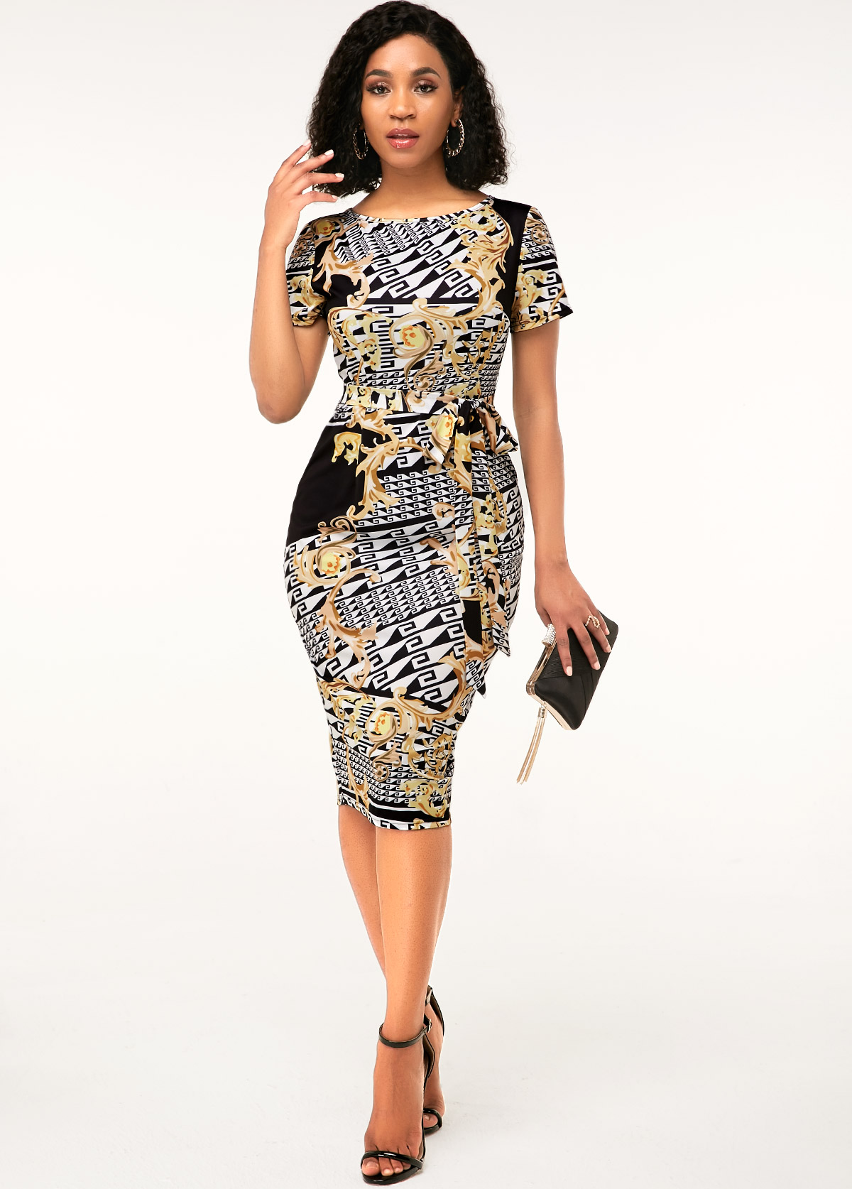 Printed Round Neck Short Sleeve Sheath Dress