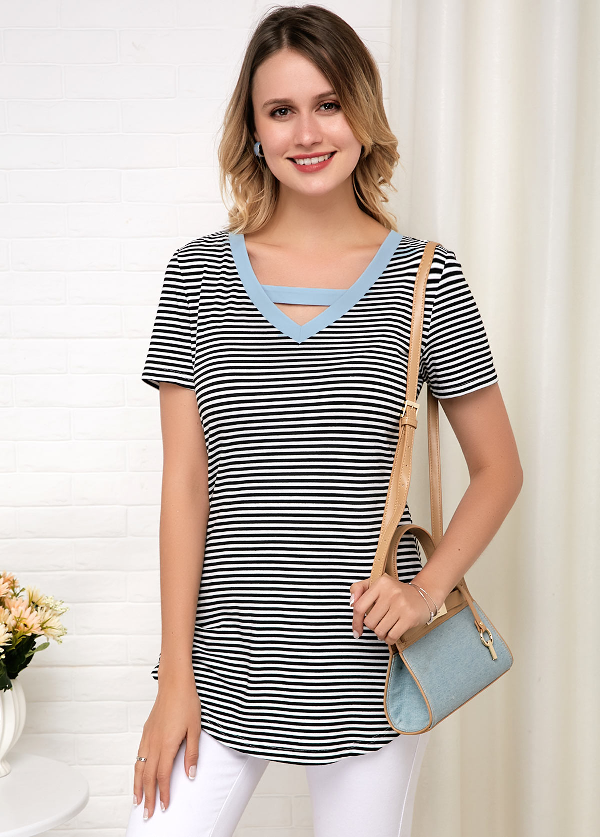 Pierced Stripe Print Short Sleeve Soft T Shirt