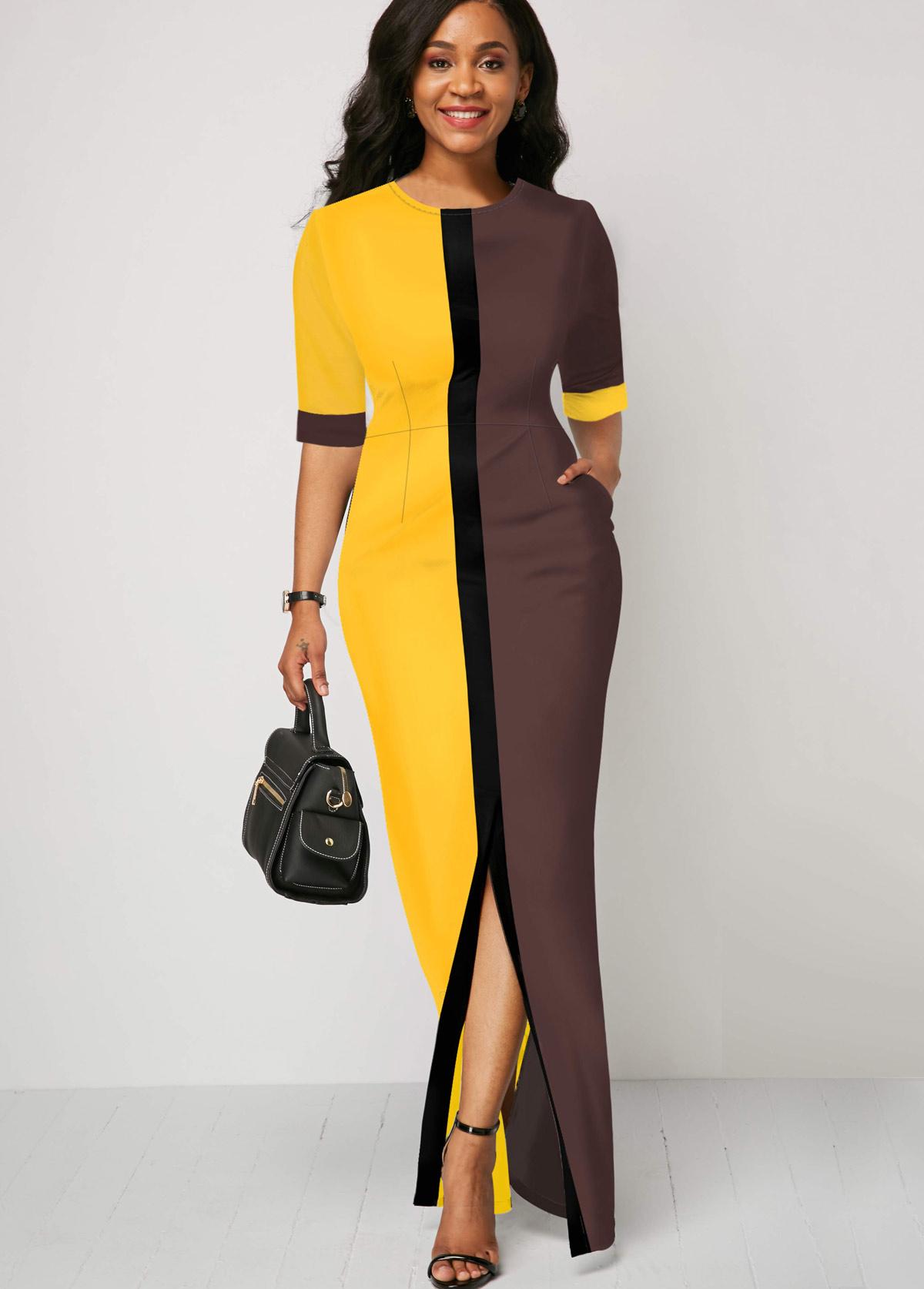Round Neck Color Block Half Sleeve Dress