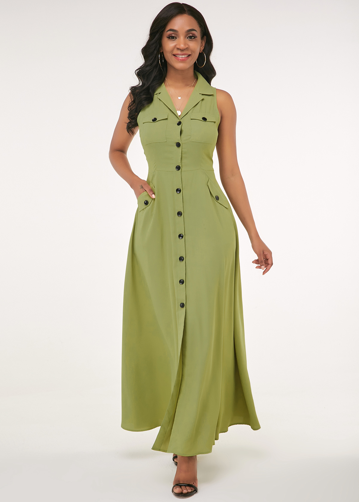 Button Up Side Pocket Turndown Collar Maxi Dress