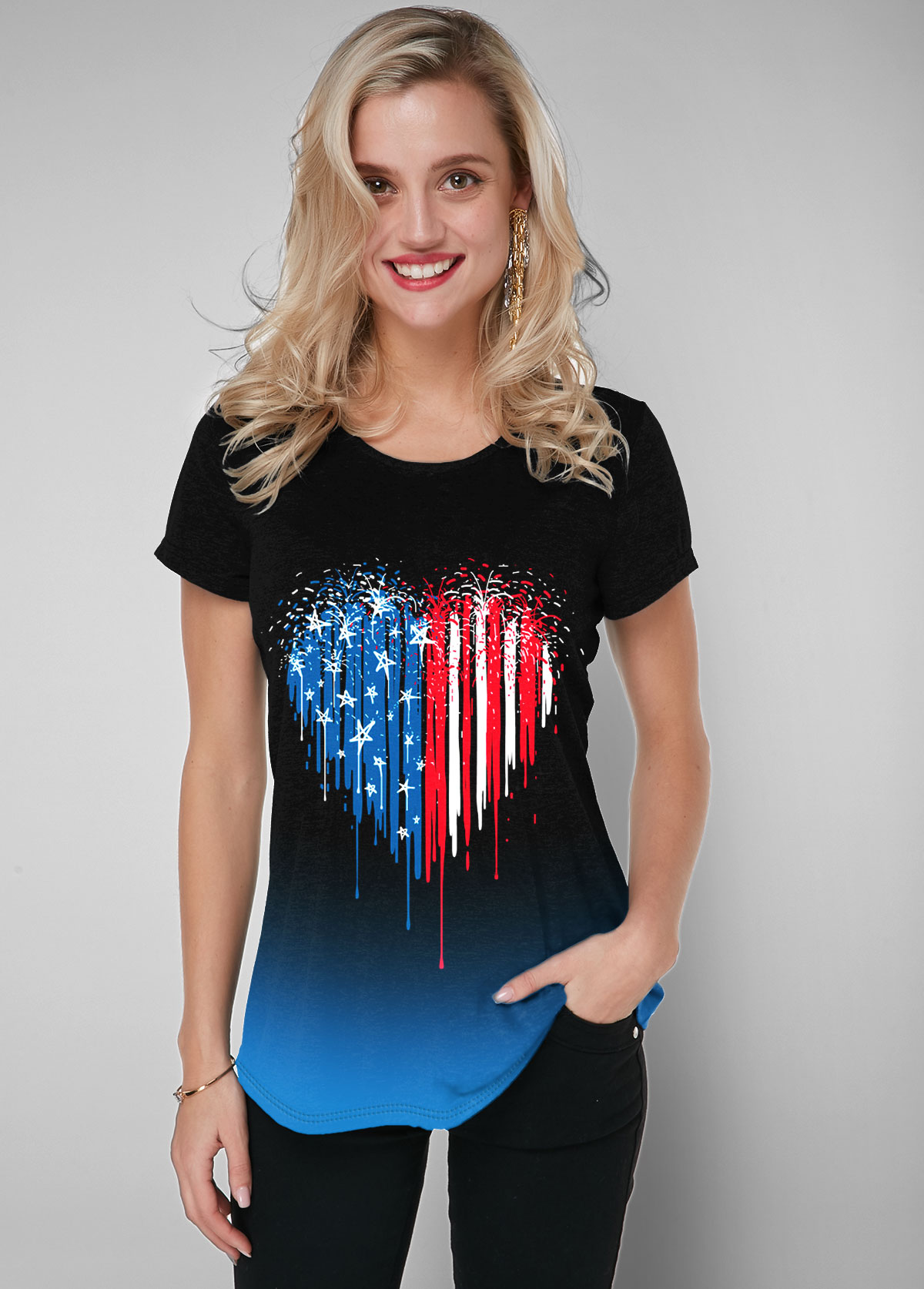 American Flag Print Gradient Black Short Sleeve T Shirt