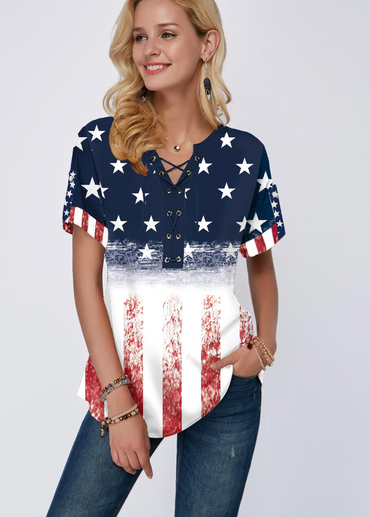 American Flag Print Short Sleeve Split Neck Blouse