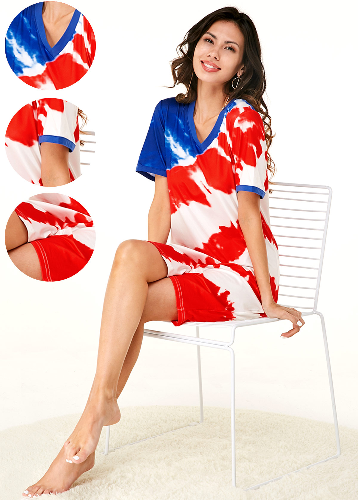 American Flag Print Short Sleeve Multi Color Nightdress