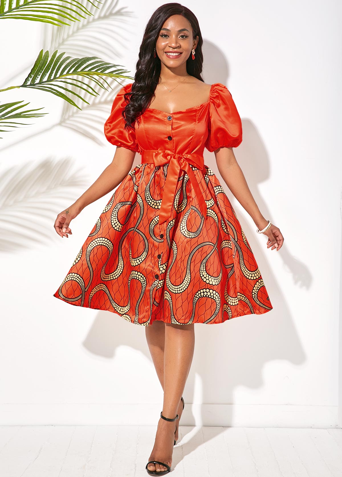 Printed Puff Sleeve Button Front Belted Dress