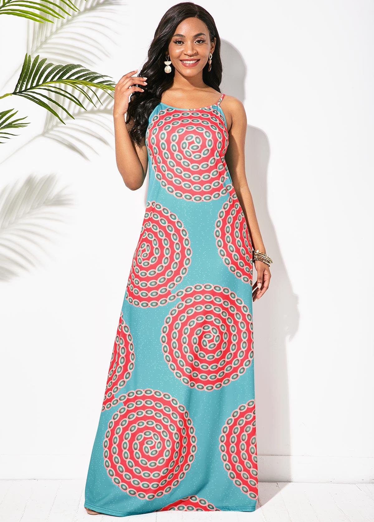 Tribal Print Round Neck Sleeveless Maxi Dress