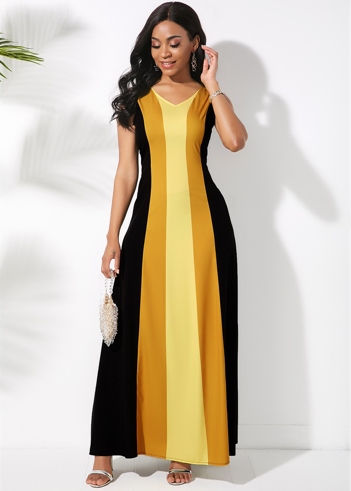 Sleeveless Color Block V Neck Maxi Dress