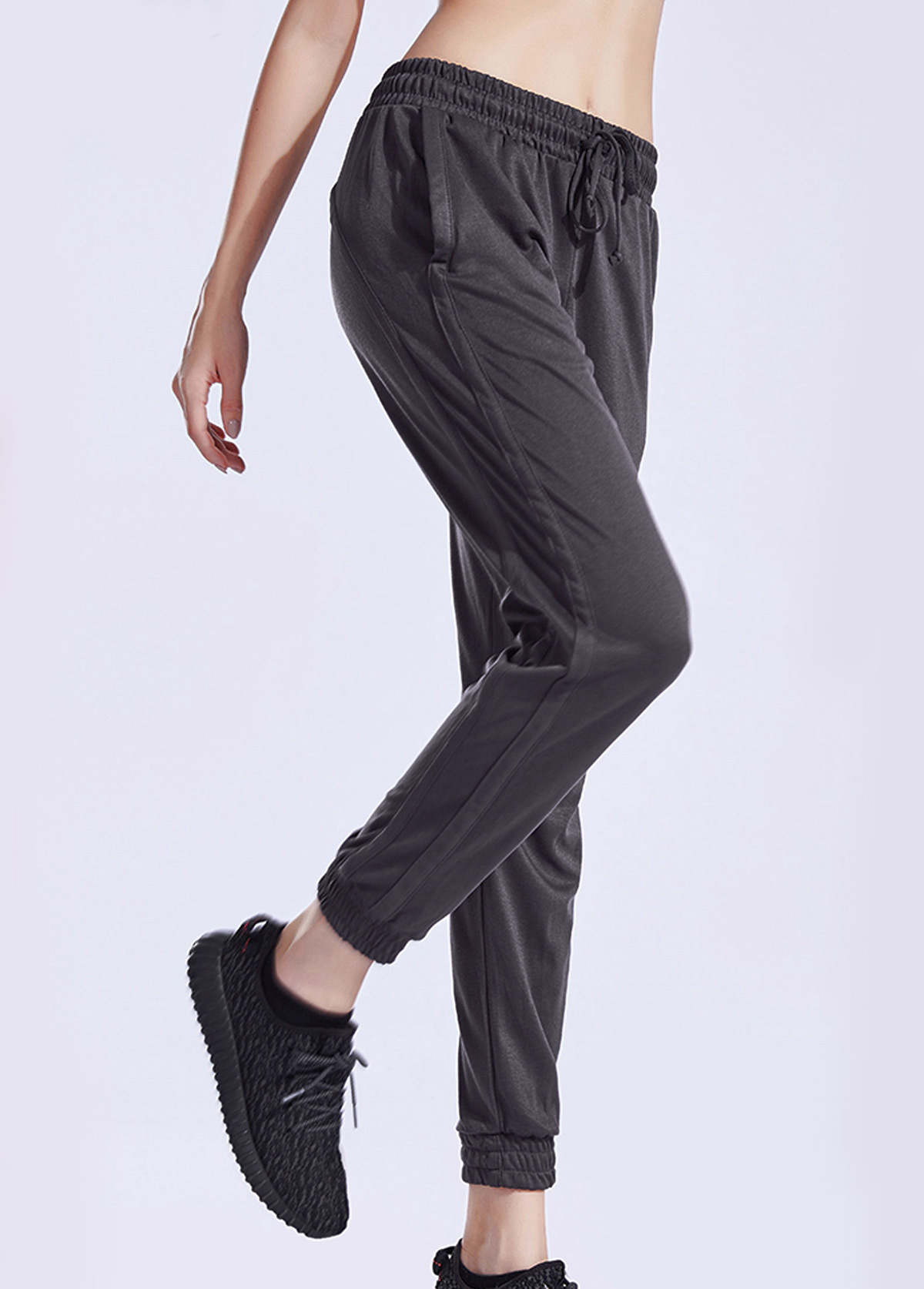Mesh Panel Black Elastic Waist Sports Pants