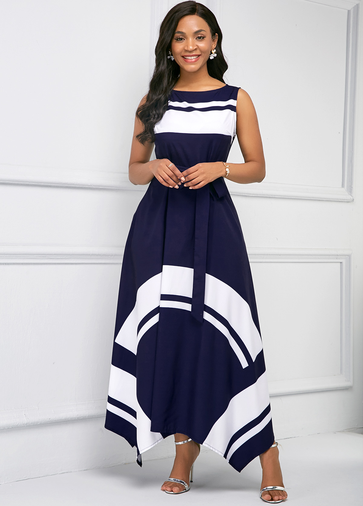 Printed Asymmetric Hem Sleeveless Maxi Dress