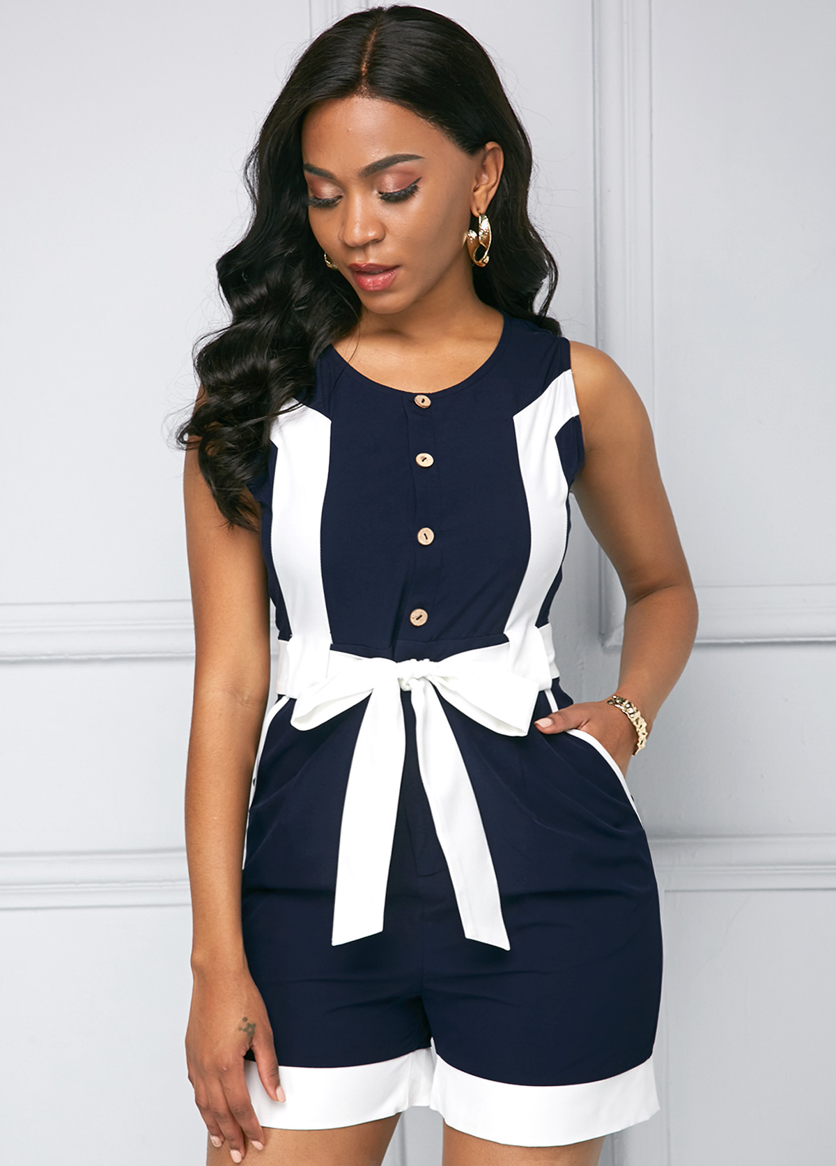 Contrast Sleeveless Button Detail Color Block Romper
