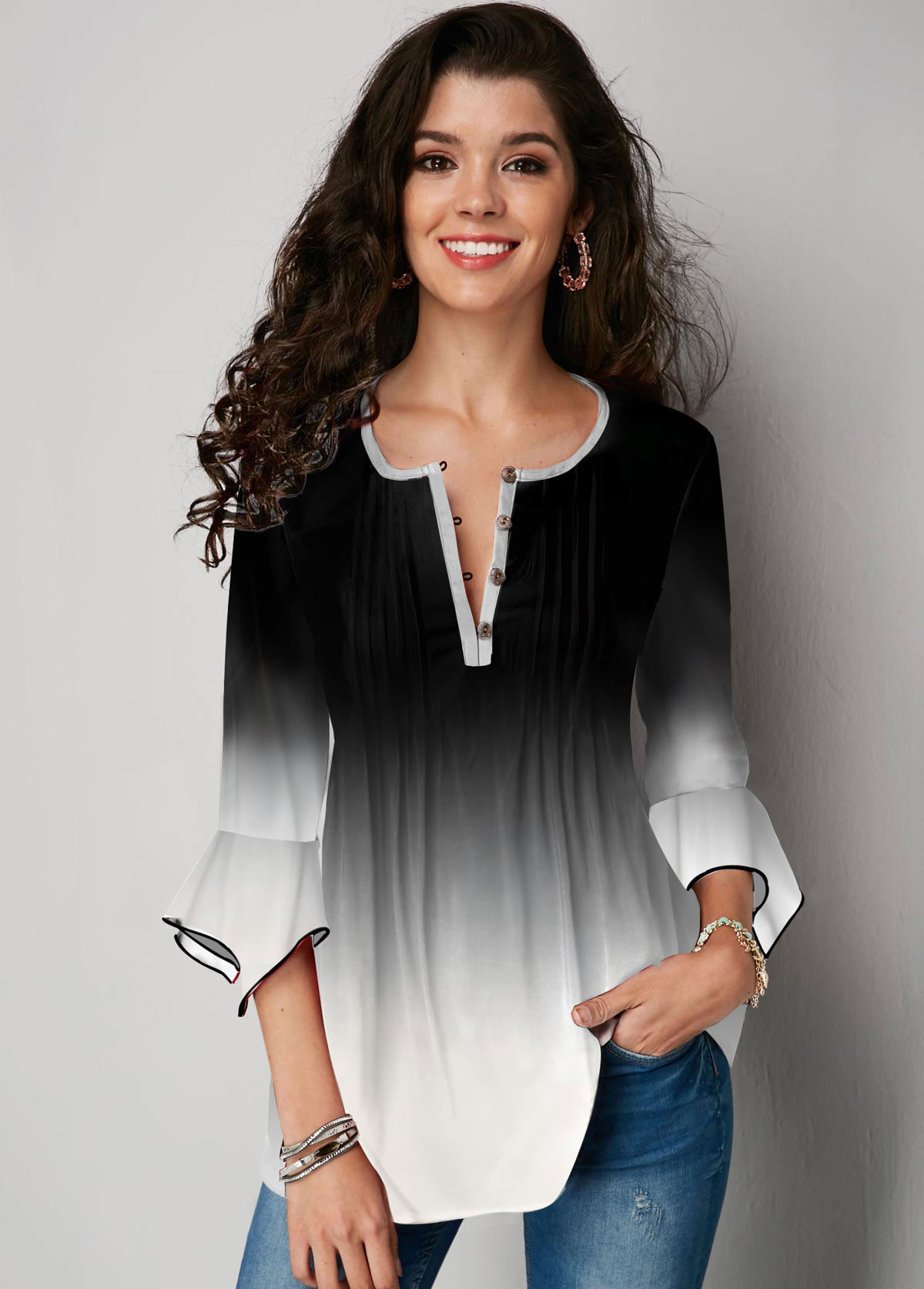 Gradient Flare Sleeve Button Up Blouse